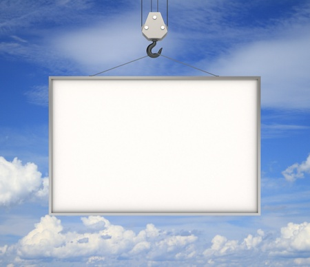crane parts: crane hook with blank billboard and blue sky