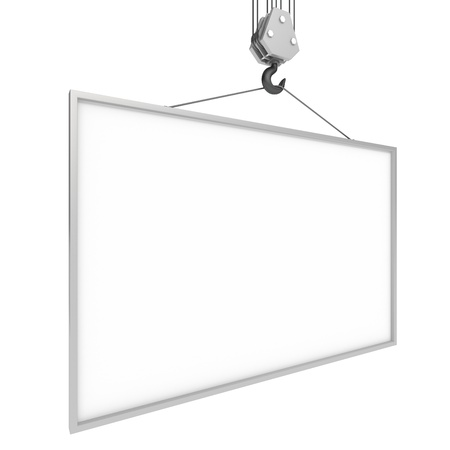 crane parts: crane hook with blank billboard Stock Photo