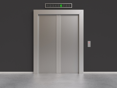 modern lift with closed doors, 3d render photo