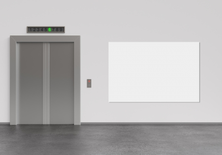 office entrance: elevator and blank poster, 3d render Stock Photo