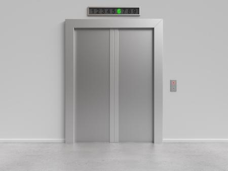 승강기: 닫힌 문을 현대 엘리베이터, 3d 렌더링