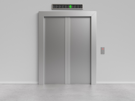 elevator: modern elevator with closed doors, 3d render Stock Photo