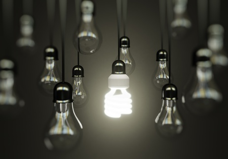 lightbulbs on gray background, idea concept Stock Photo - 18039566