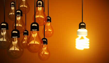 compact: lightbulbs on yellow background, idea concept Stock Photo