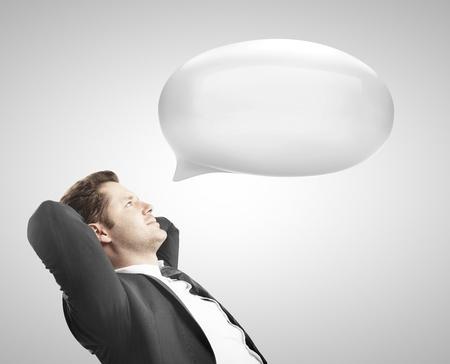 businesman with white bubble talk Stock Photo - 18039713