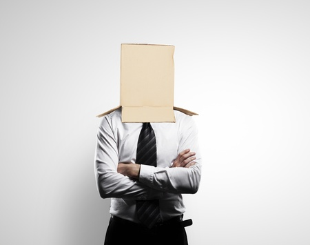 businessman with a box on head Stock Photo - 18039638