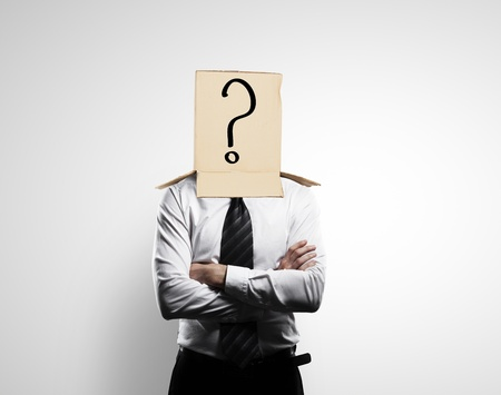 man with a box on head with question mark Stock Photo - 18039640