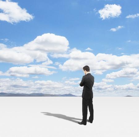 man thinking and blue sky Stock Photo - 18039649