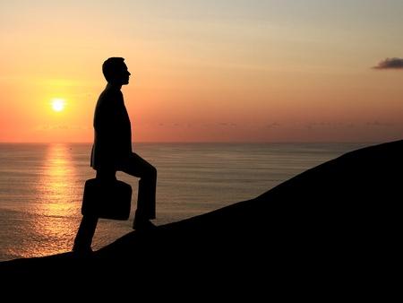 man walking on background of sunset Stock Photo - 18039616