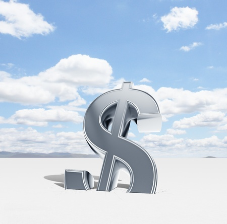 silver dollar symbol and blue sky Stock Photo - 18039652
