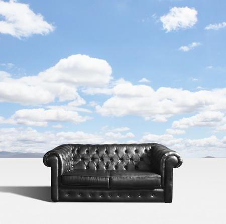 leather sofa on sky background Stock Photo - 18039650