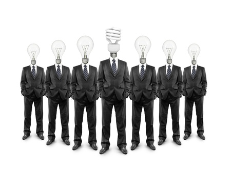 group businessman with lamp-head on a white background Stock Photo - 18039647