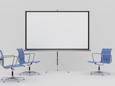 blank movie screen in office
