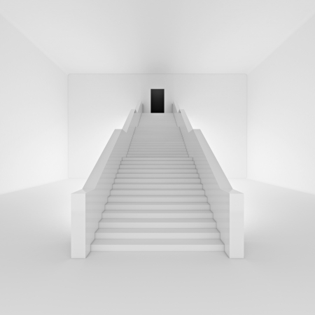 White staircase to open door Stock Photo - 18039636