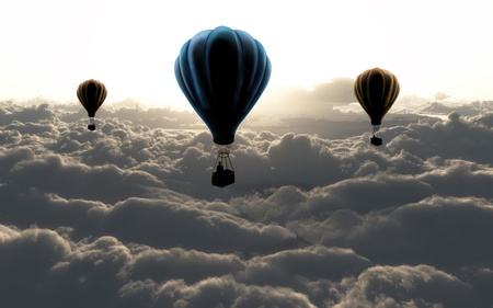 ballooning: three air baloon on sky with clouds Stock Photo