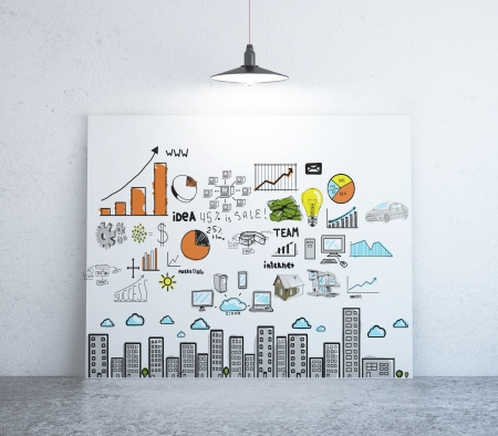 creative pictures: poster with business concept on wall Stock Photo