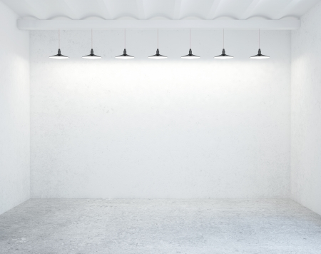 background abstracts: concrete room with ceiling lamps Stock Photo