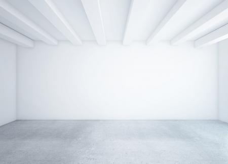 clean room: white empty loft room and concrete floor