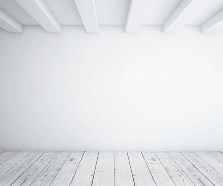 rendered: white empty loft room and wood floor