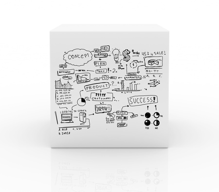 box with business strategy on white background photo