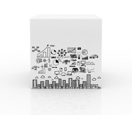 white box with business plan on white background photo