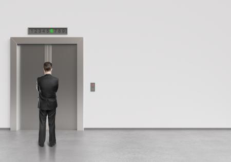 승강기: 사업가 닫힌 문을 현대 엘리베이터