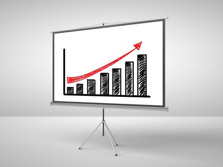 ecran: flipchart with business chart in office Stock Photo