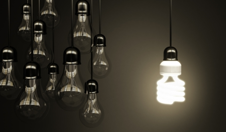 lightbulbs on gray background, idea concept Stock Photo - 18187575