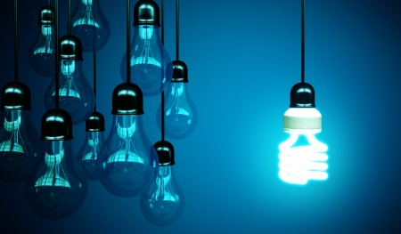 concept idea: lightbulbs on blue background, idea concept Stock Photo