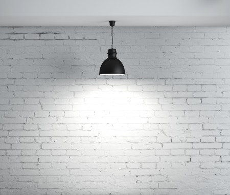brick room and ceiling lamps photo