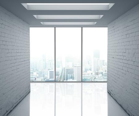 big window: loft office and big window Stock Photo