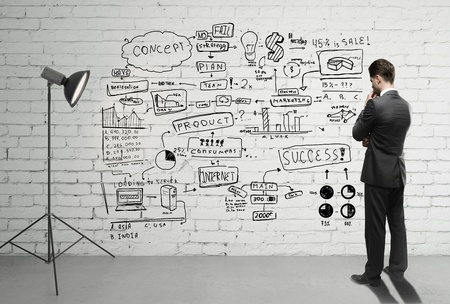 businessman looking business concept on wall Stock Photo - 18187713