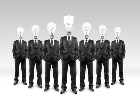 group businessman with lamp-head on a white background Stock Photo - 18187661