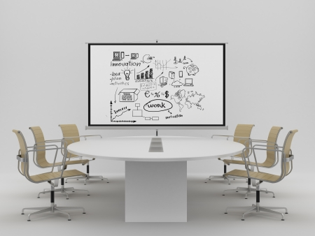 ecran: flipchart with business concept in office