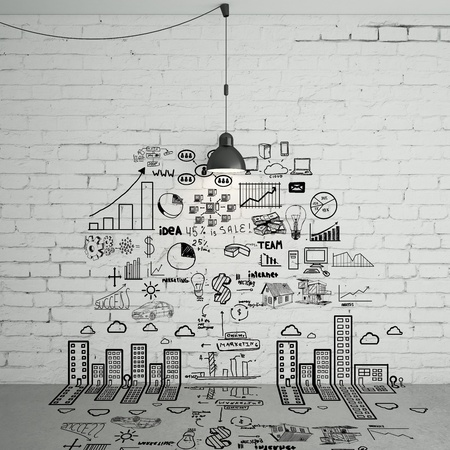 drawing business concept on wall photo