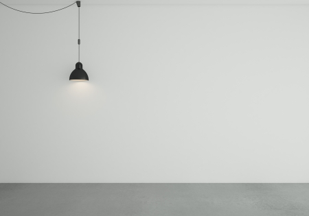 concrete room: empty room with ceiling lamps