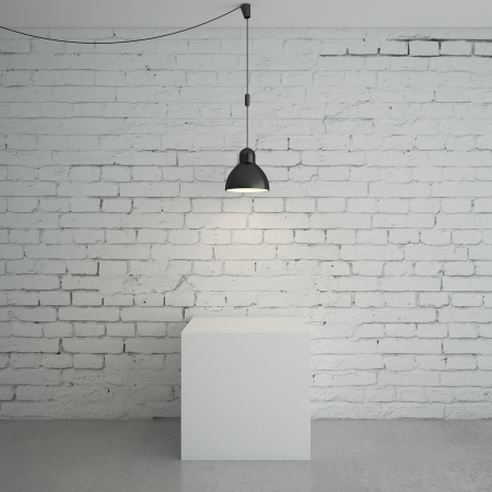 lofts: white brick room with cube Stock Photo