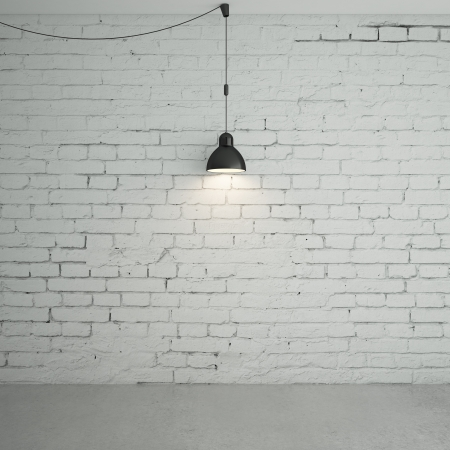 the white wall: brick room with ceiling lamps Stock Photo