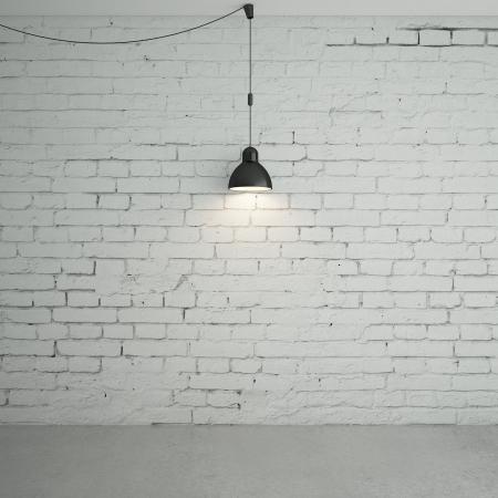 muro: stanza di mattoni con plafoniere