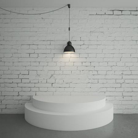 white brick room with podium Stock Photo - 18187717