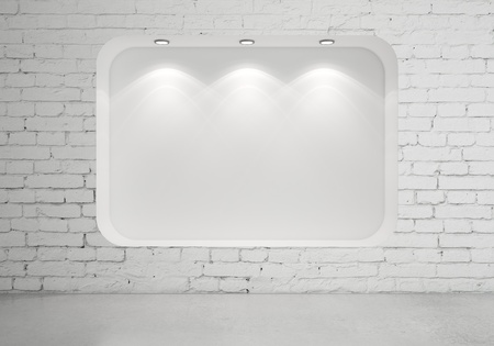 brick room with showcase and lamps Stock Photo - 18187664