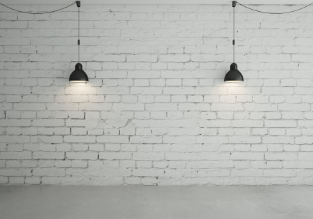 brick room with two ceiling lamps Stock Photo - 18187708