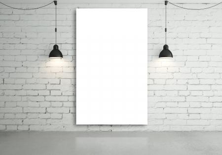 brick floor: dos l�mparas y un cartel en blanco en la pared
