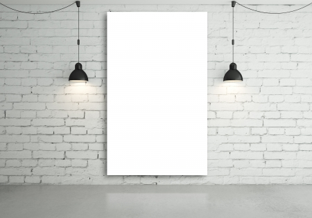 old brick wall: two lamps and blank poster on wall