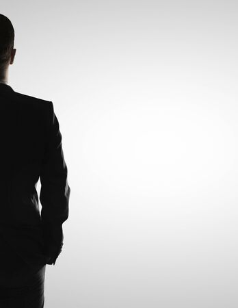solitude: half of man on a white background