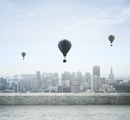 modern city view from concrete roof and air balloon photo