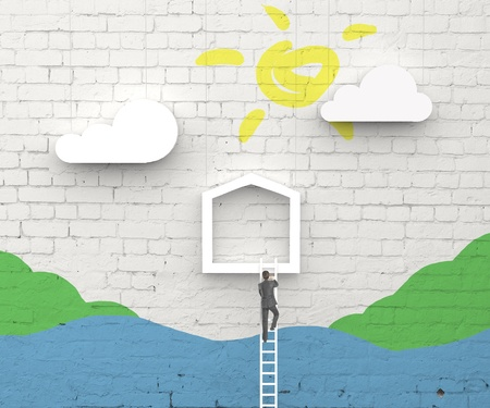 man climbing on ladder in abstract house photo