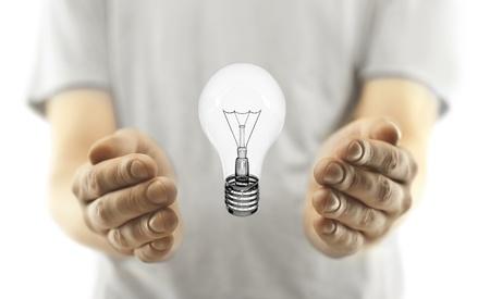 singn: man with lightbulb on white background