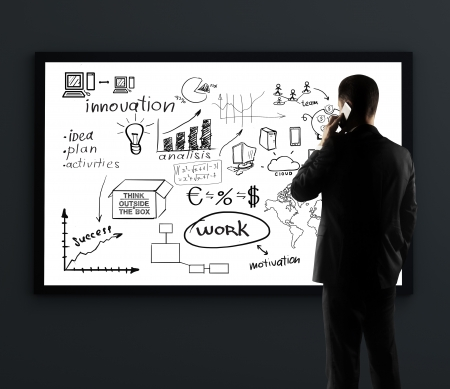 marketing plan: businessman with phone looking on billboard with business plan