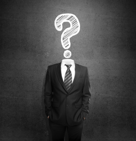 question mark background: men standing with out head with drawing question Stock Photo